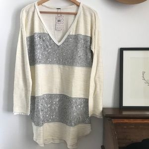 Free People Sequin Stripe Pullover Sweater Dress